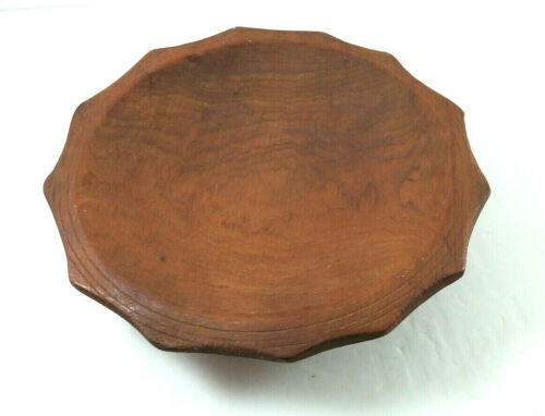 Solid Wood Bowl Shallow Fruit Brown Round 10 Inch