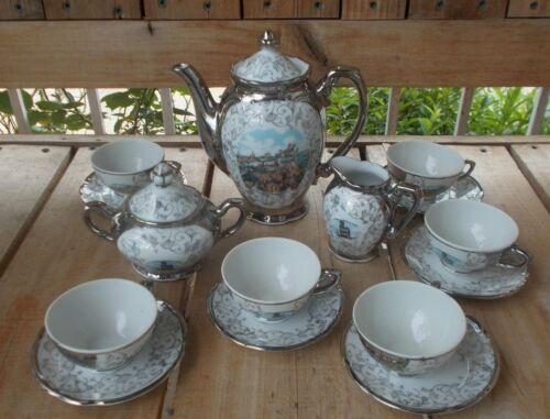Bavaria Tea Set. Silver color w/ scene: S. MARINO - LA ROCCA (17 pcs), Vintage