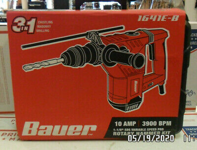 Bauer 1-18 In. Sds Variable Speed Pro Rotary Hammer Kit 1641e-b Brand New