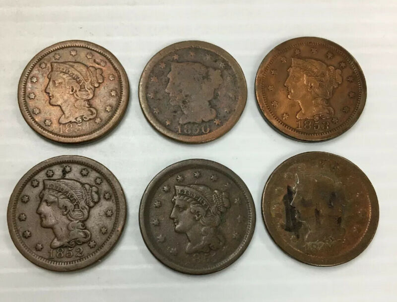 6 Braided Hair Large Cents Different Legible Dates 1849-1854 Q1K43
