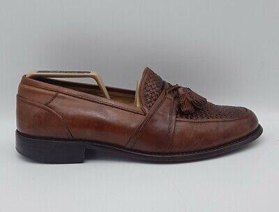 JOHNSTON & MURPHY Mens Size 10 W Leather Loafers Brown Slip On In E U C