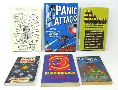 6 Book Lot: THE WAR OF THE WORLDS H.G. Wells Orson Welles Radio Panic