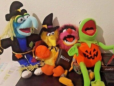 the Muppets lot of 4-Plush stuffed Kermit Gonzo Animal Big Bird Halloween Wizard](Big Bird Halloween)
