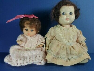 TWO VINTAGE HARD & SOFT PLASTIC SMALL BABY DOLLS 1950s MOVEABLE JOINTS - DOLL -