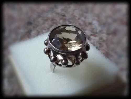 Vintage Erik Granit Sterling Silver and Quartz Large Statement Ring - Size 6