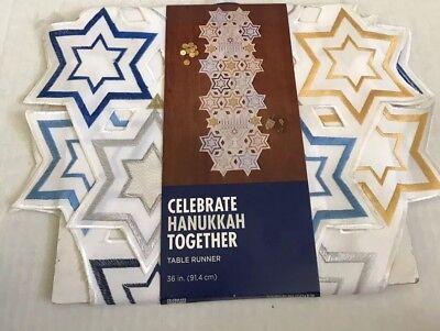 New Hanukkah Table Runner Blue Gold & White Menorah 36