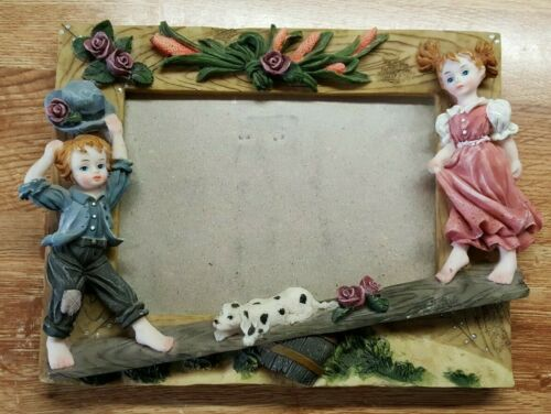 """Ceramic Picture Frame  w 4-1/2"""" Figurines Boy & Girl, Dog, Floral - 9 x 7 inches"""