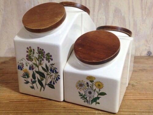 Vintage Hydyn Ceramic Floral Design Kitchen Canisters Lot of 4