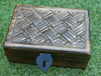 E** Antique Oriental Indian Wooden Carved Cigarette trinket money box