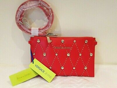 Versace Jeans red studded Clutch Bag with strap