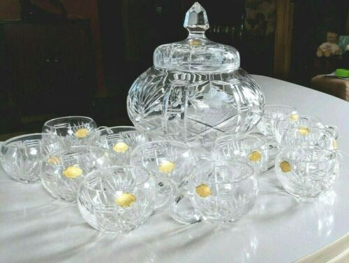 Echt Bleikristall Cut Crystal Wheel Cut Grapes Punch Bowl Footed & 12 Cups $ 250
