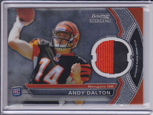 2011 Bowman Sterling Andy Dalton Patch Cincinnati Bengals 2 Color RC