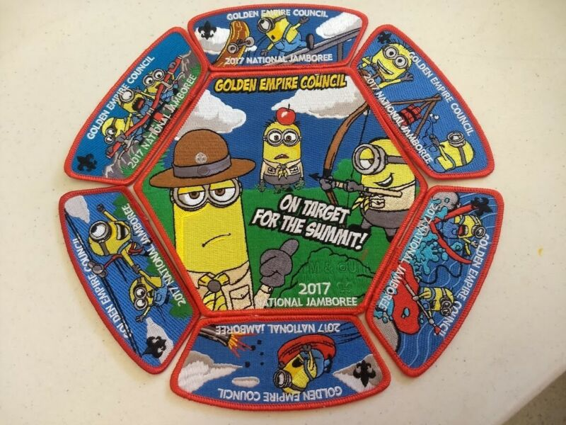 2017 National Boy Scout Jamboree Patches - Contingent Red Set - Minions