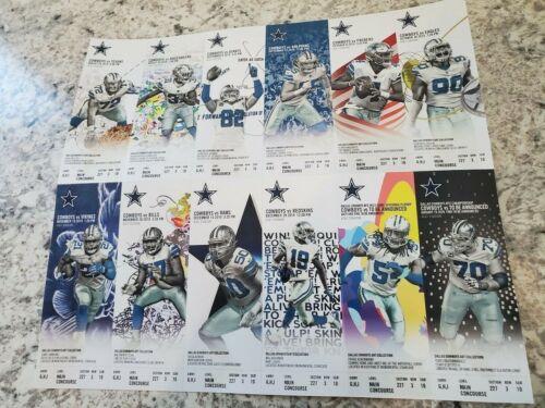 12 Ticket Lot - 2019 Dallas Cowboys Full Untorn Complete Season Book Sheet