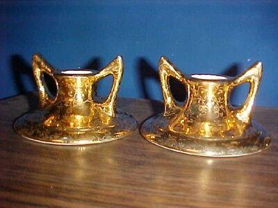 Lot 22kt gold Candle Stick Holders gems