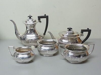 Wunderschöne 5-PC. Edwardianisch Sheffield Silbertablett Tee / Kaffee Set,C ()
