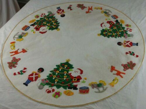"Felt XMAS Tree Skirt Tablecloth Jeweled Sequin 44"" Santa Nutcracker Handmade Vtg"