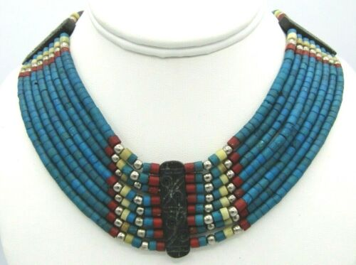 """Stunning Vintage Tribal Dyed Bone Red Blue Multi 8 Strand Collar Necklace 16"""""""