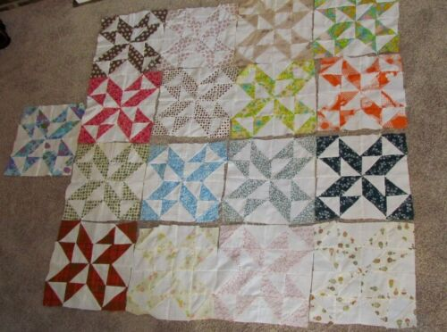 13 Vintage Quilt Blocks Feedsack Fabric Pieced Blocks Antique