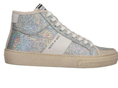 New MOA MASTER OF ARTS Playground Lurex High Cut Sneakers Trainers 38 8 7.5