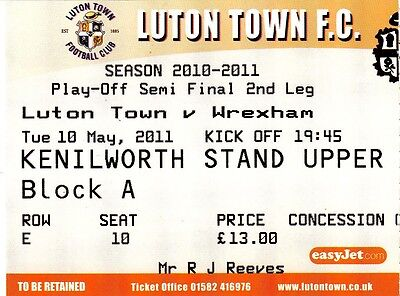Ticket - Luton Town v Wrexham 10.05.11 Play-Off Semi-Final