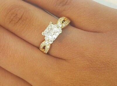 1.5 Ct Princess Cut (14k Solid Yellow Gold 1.5 CT Princess Cut Diamond Engagement Wedding)