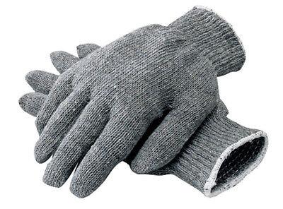 12 Pair 1 Dozen Gray String Knit Poly Cotton Work Gloves Pairs Grey Large L