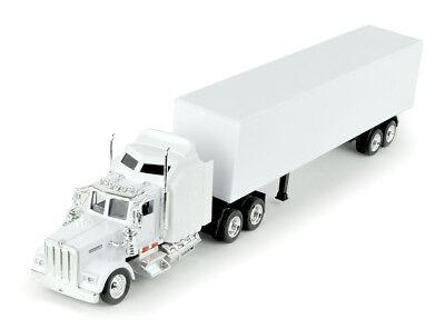 New Ray Kenworth W900 White Cab Trailer White Diecast Tractor Trailer Truck -