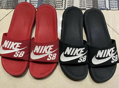 Nike SB Benassi Slides Red & Black Set Sz 9 RARE Best Price! Free