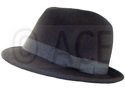 Unisex Mens Womens 100% Wool Dance Costume Gangster Fedora Hats Black Trilby - Costume Fedora Hats