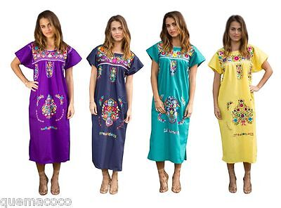 Any Color HAND Embroidered Mexican Dress Vintage Tunic Peasant SMALL TO PLUS](Peasant Dress)