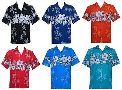 Alvish Hawaiian Casual Shirts Men's Bamboo Tree Print Beach Aloha Party Holiday Bamboo Mens Aloha Shirt