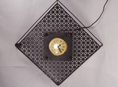 "Vtg Electric Black Square Metal Wall Clock 13"" Mid Century Modern MCM Mad Men"