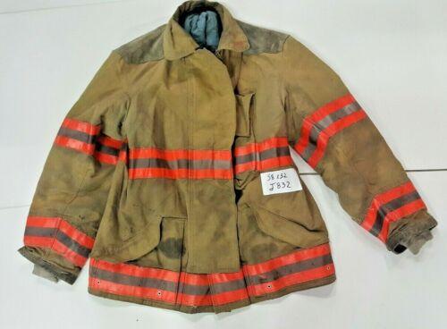 Globe 38x32 Brown Firefighter Turnout Jacket Coat w/ Orange Reflective Tape J832