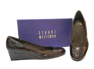 Stuart Weitzman Brown Croco Womens Leather Wedge Pumps Shoes Sz US 8.5 Narrow
