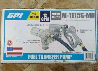Gpi M-1115s-mu Fuel Transfer Pump Wmanual Nozzle 34 Npt 115v-ac 12 Gpm