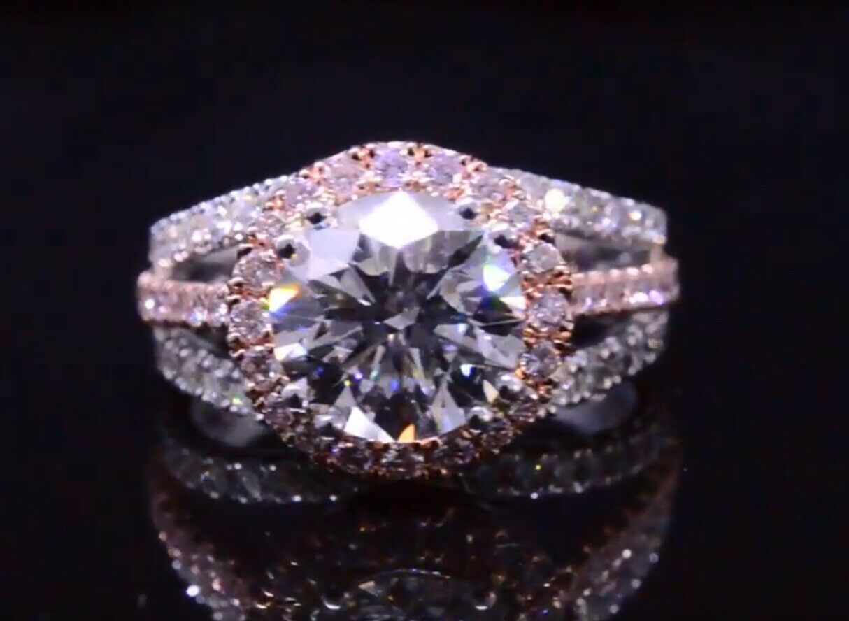 1.70TCW Natural Round Halo Pave Split Shank w/ Natural Pink Diamonds - GIA