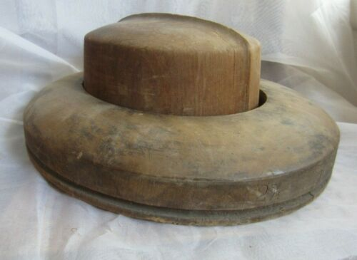 Two Piece Vintage Antique Wood Block Mold Millinery Hat Form and Rim Haberdasher
