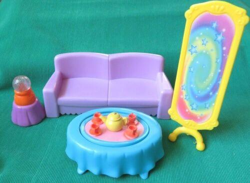 Dora the Explorer LIVING ROOM SOFA FLIP TABLE MIRROR doll house FURNITURE LOT