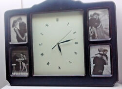 Melannco 4 Picture Family Memories Wall Photo Clock Black Customizable Paint