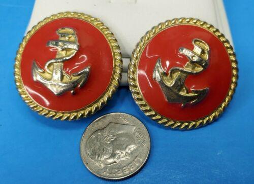 Red Enamel Clip On Earrings Anchors Gold Tone @ trueblue0080 -  N55