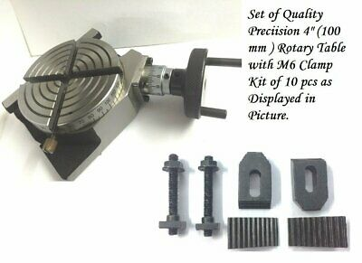 4 Inches 100 Mm Rotary Table 4 Slot For Milling Machine M6 Clamp Kit