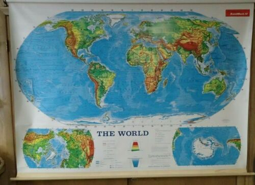 RAND MCNALLY MAP PULL DOWN RETRACTABLE WORLD HOME CHARTER SCHOOL MARKABLE LARGE