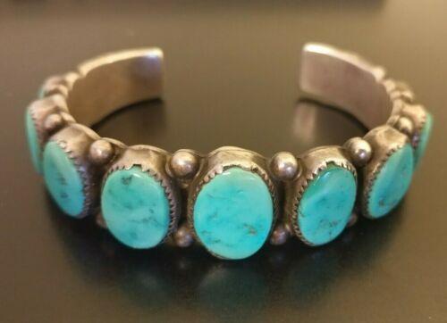 WILBUR MUSKET Native American Navajo Turquoise Row Sterling Silver Cuff Bracelet