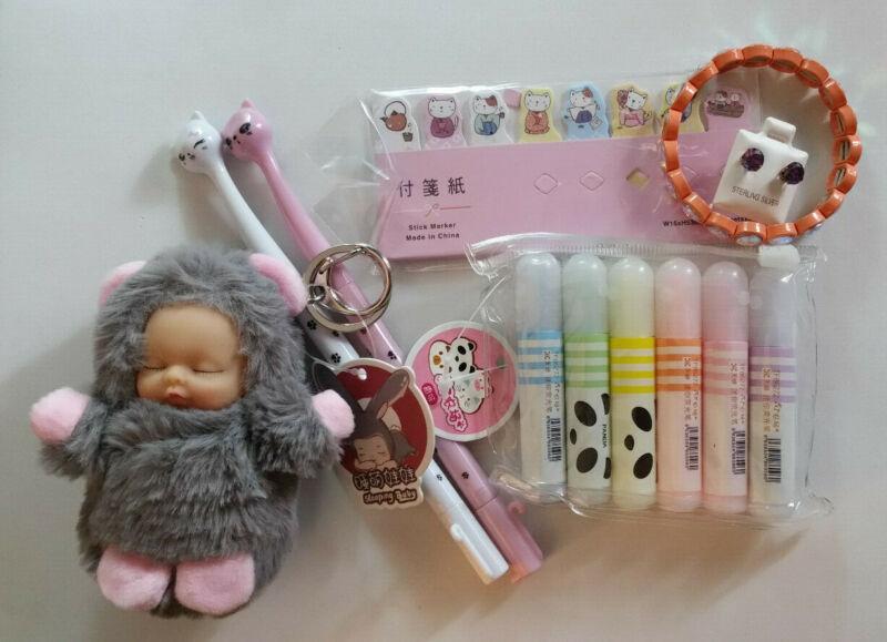 Girls Gift Set Rhinestone Bracelet 925 Earrings Kawaii Cat Keychain Pens 836