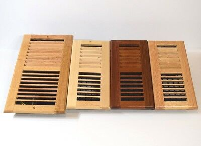 Decor-Grates-Floor-Register-Solid Wood-Natural-Air-Vent-Louvered 4x12 4x14 (Decorative Floor Grates)