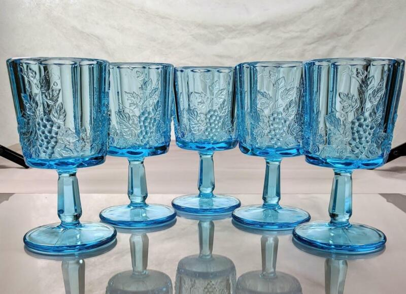Set of 5 Vintage WESTMORELAND Opalescent Blue Paneled Grape Glass Goblets EUC