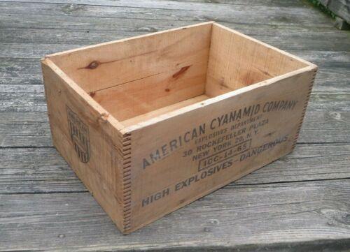 Vintage American Cyanamid Wood Box Crate Dynamite Mining