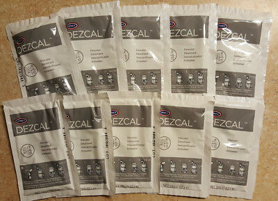 URNEX DEZCAL COFFEE & ESPRESSO MACHINE DESCALER - 10 Distinguish-USE 1-oz. PACKETS