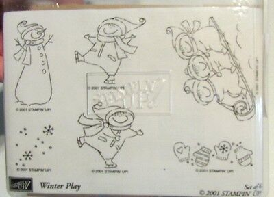 """NIB Unmounted Rubber Wood Stamps """" Winter Play"""" By Stampin Up! 2001"""
